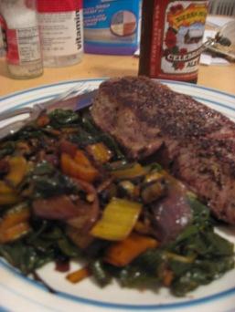steak and chard