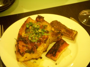 Pork chop, belly, and cracklin'.  The belly is in the lower righthand corner of the plate.