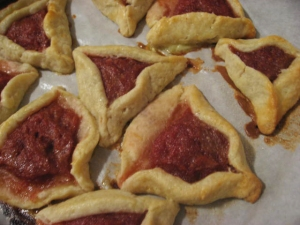 the finished hamantaschen -- some collapsed, some intact, all delicious