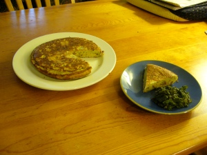 Tortilla española with a side of purple kale